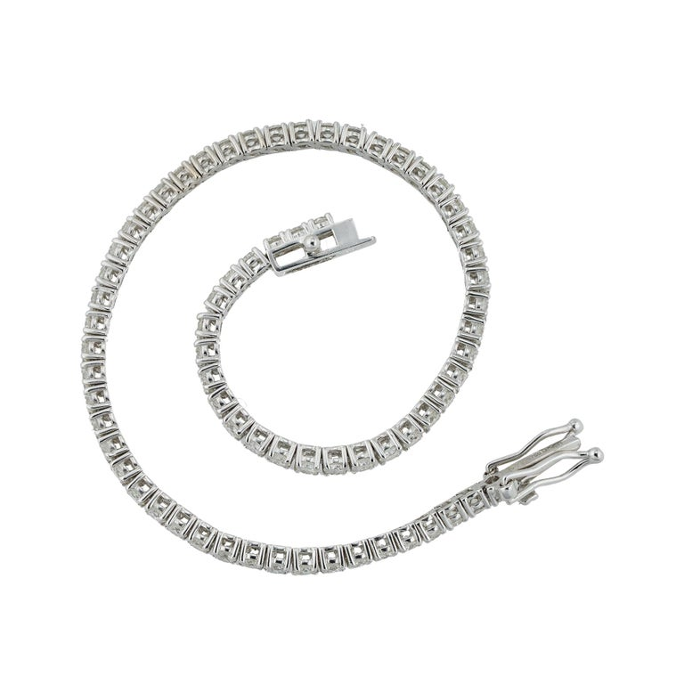 A diamond line bracelet, the 69 round brilliant-cut diamonds estimated to weigh 3.30 carats in total, claw set in 18ct white gold mount, hallmarked 18ct gold, London 2020, gross weight 7.4 grams.  Should you choose to make this purchase we will