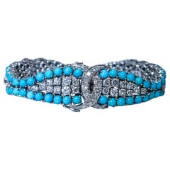 Diamond, Turquoise and Gold Bracelet