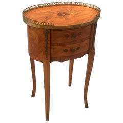 Diminutive Italian Inlaid Side Table Commode