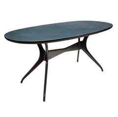 Dining Table by Parisi with Blue Glass Top