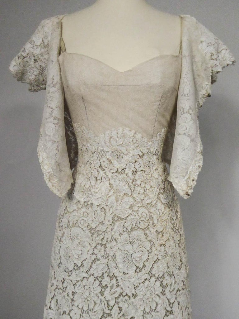 A Dior/ Bohan Couture Cream Lace Dress and Bolero numbered 94445 Circa 1965 For Sale 5