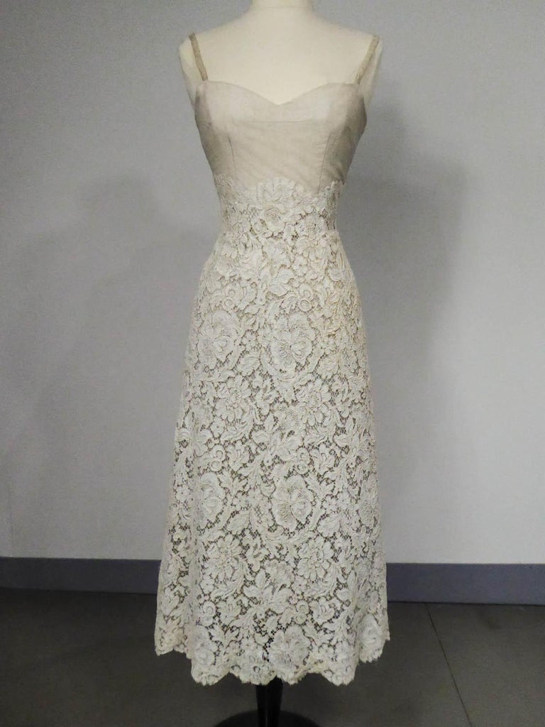 A Dior/ Bohan Couture Cream Lace Dress and Bolero numbered 94445 Circa 1965 For Sale 6