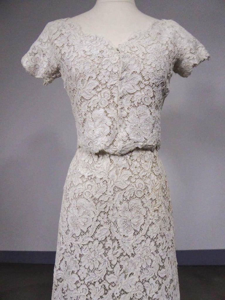 A Dior Bohan Couture Cream Lace Dress And Bolero Numbered 94445 Circa 1965