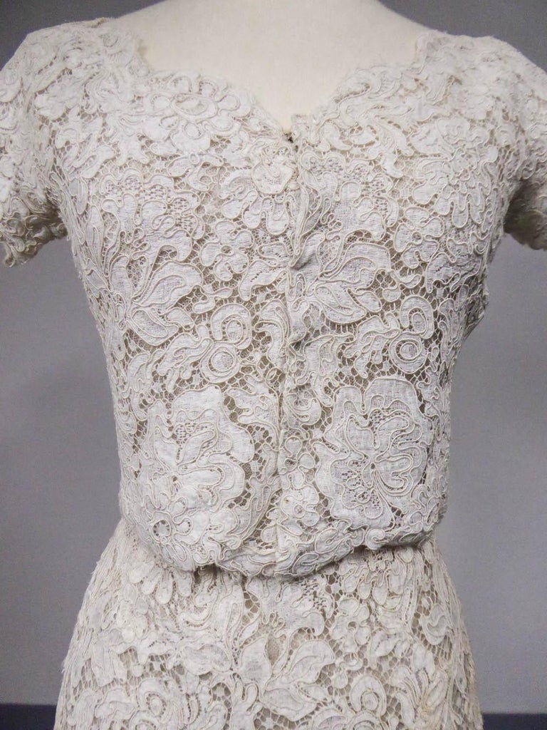 Gray A Dior/ Bohan Couture Cream Lace Dress and Bolero numbered 94445 Circa 1965 For Sale