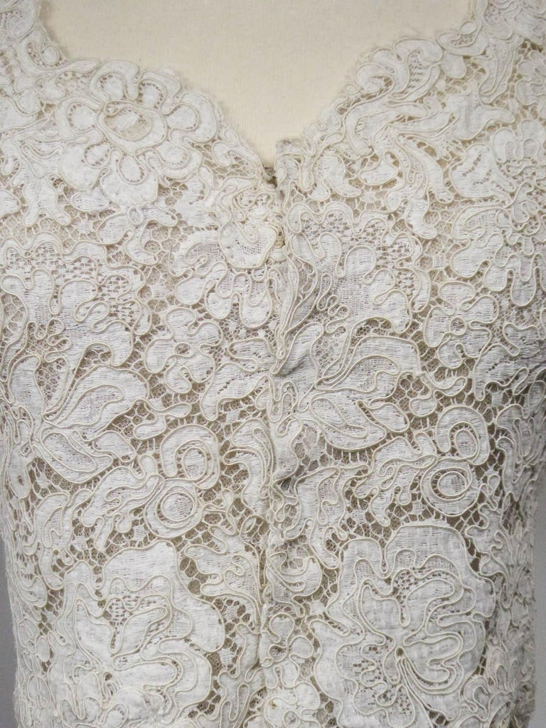 A Dior/ Bohan Couture Cream Lace Dress and Bolero numbered 94445 Circa 1965 In Excellent Condition For Sale In Toulon, FR