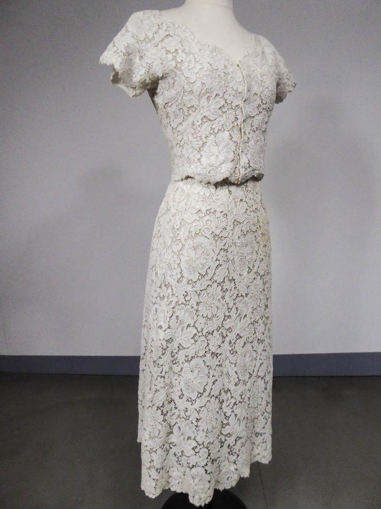 Women's A Dior/ Bohan Couture Cream Lace Dress and Bolero numbered 94445 Circa 1965 For Sale
