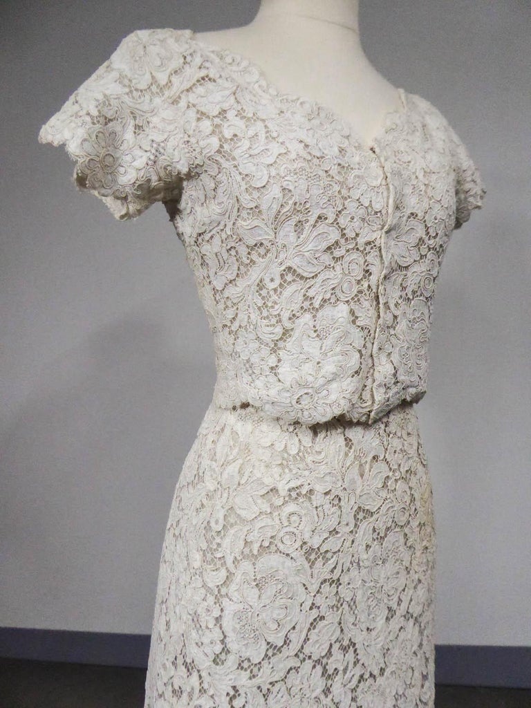 A Dior/ Bohan Couture Cream Lace Dress and Bolero numbered 94445 Circa 1965 For Sale 1