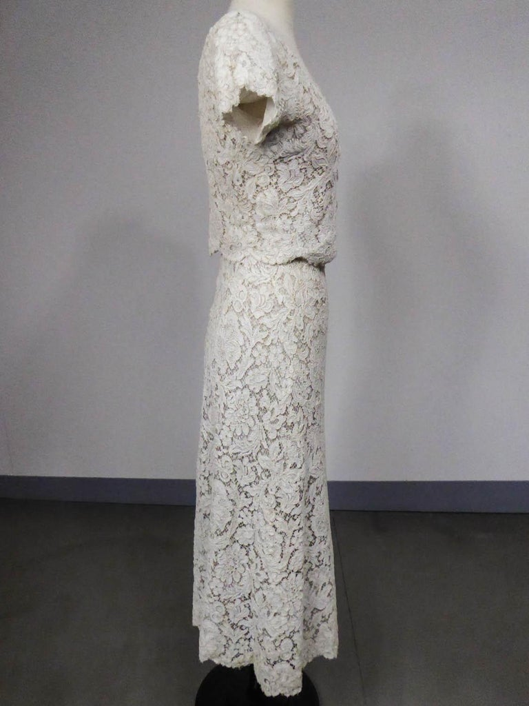 A Dior/ Bohan Couture Cream Lace Dress and Bolero numbered 94445 Circa 1965 For Sale 3