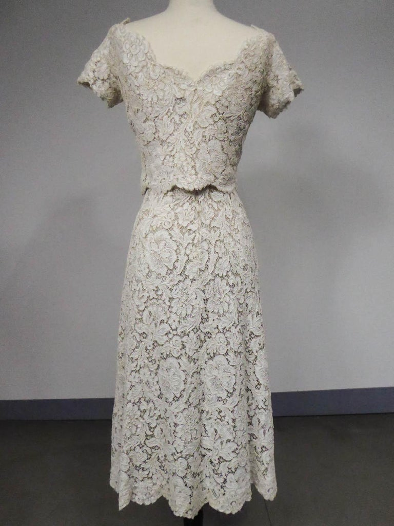 A Dior/ Bohan Couture Cream Lace Dress and Bolero numbered 94445 Circa 1965 For Sale 4
