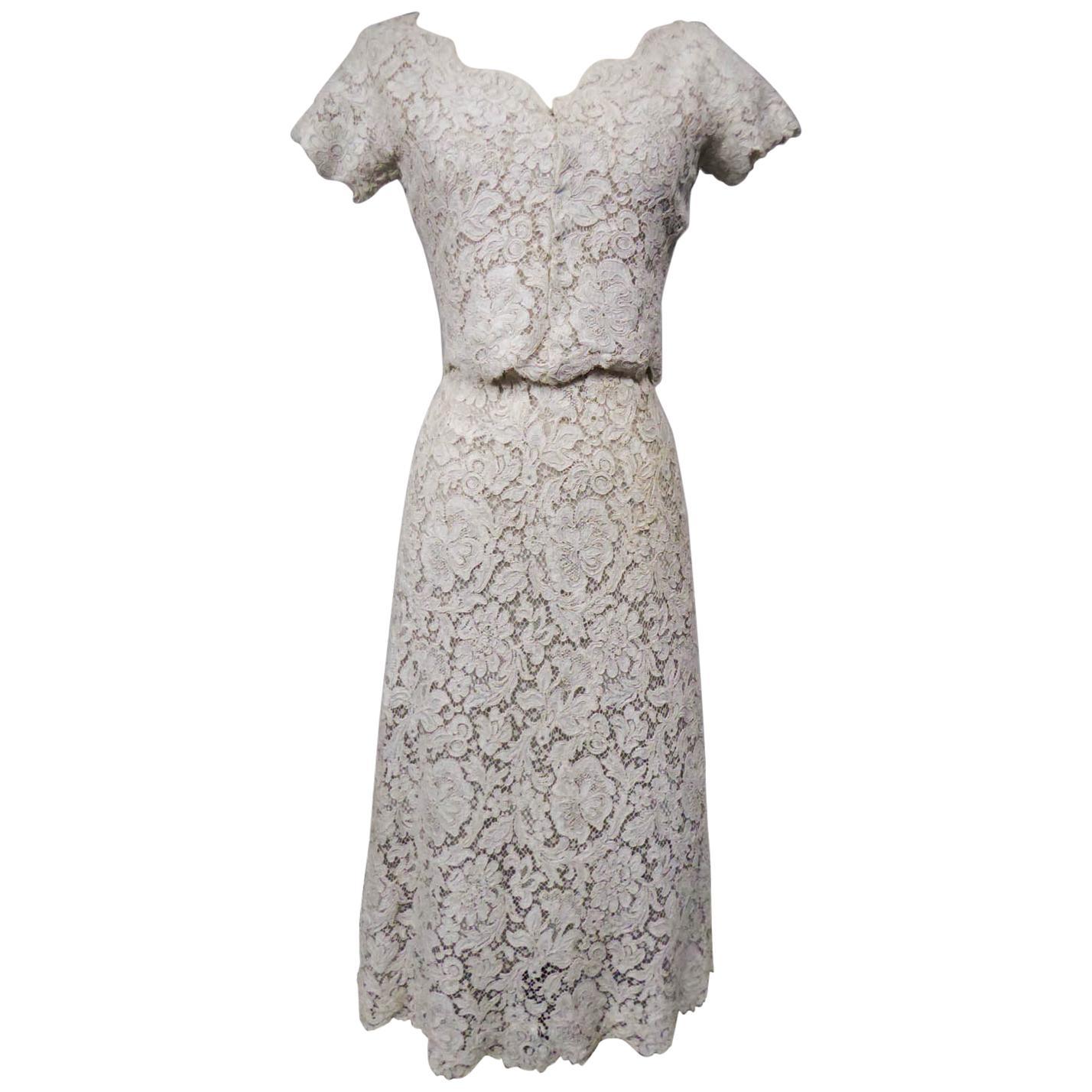 A Dior/ Bohan Couture Cream Lace Dress and Bolero numbered 94445 Circa 1965