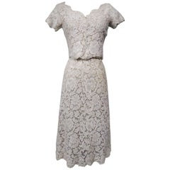 A Dior/ Bohan Couture Cream Lace Dress and Bolero numbered 94445 Circa 1965