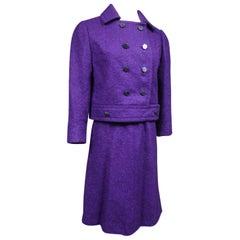 A Dior Demi Couture Purple Mohair Woolen Skirt Suit Circa 1975
