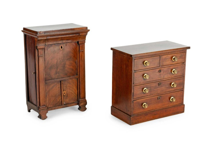 A 19th century Directoire diminutive walnut Secrétaire a' Abattant and a similar diminutive five-drawer chest. Great small drinks table or jewelry chest. Great attention paid to detail. Priced per piece.