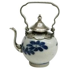 Doll's House Miniature Chinese Porcelain Teapot, Kangxi Period