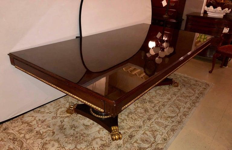 Double Pedestal Gilt And Macassar Dining Conference Table Having - Pedestal conference table