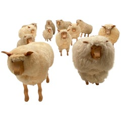 Dozen of Sheep Midcentury Genuine Sheep Wool and Carved Pinewood, Germany, 1970s