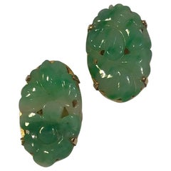 A Dragsted 14 Karat Guld Earrings 'clips' with Jade