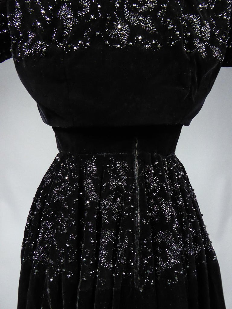 A Dress and Bolero French Couture Evening Set with Worth Label Circa 1950 For Sale 8