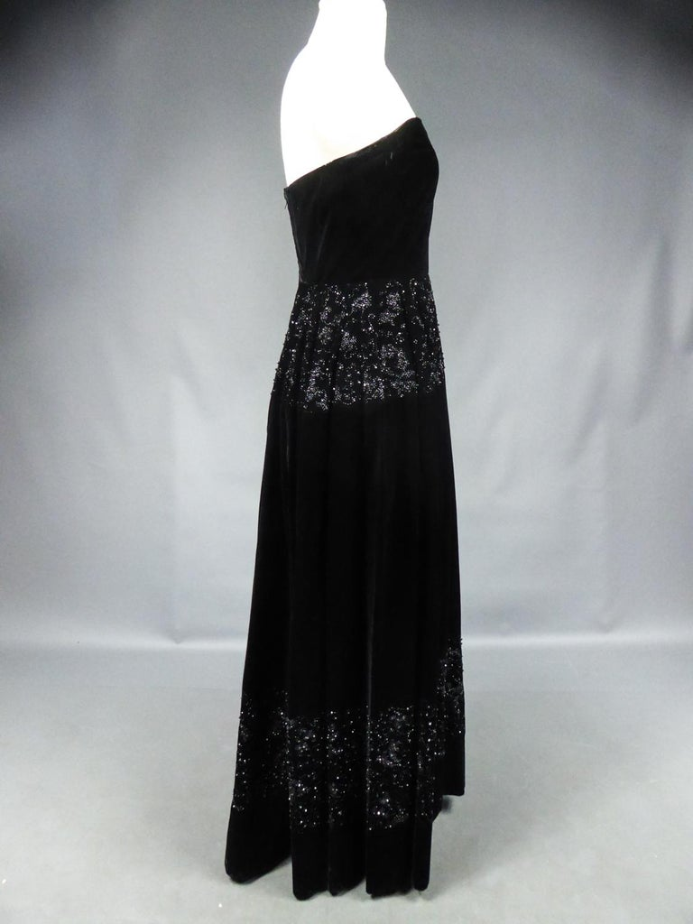 A Dress and Bolero French Couture Evening Set with Worth Label Circa 1950 For Sale 11