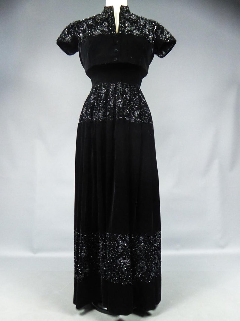Women's A Dress and Bolero French Couture Evening Set with Worth Label Circa 1950 For Sale