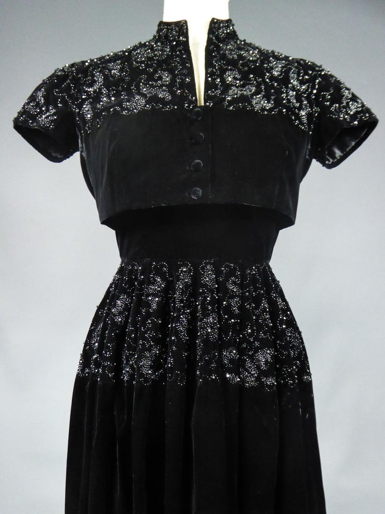 A Dress and Bolero French Couture Evening Set with Worth Label Circa 1950 For Sale 1