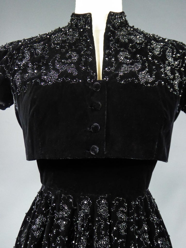 A Dress and Bolero French Couture Evening Set with Worth Label Circa 1950 For Sale 2