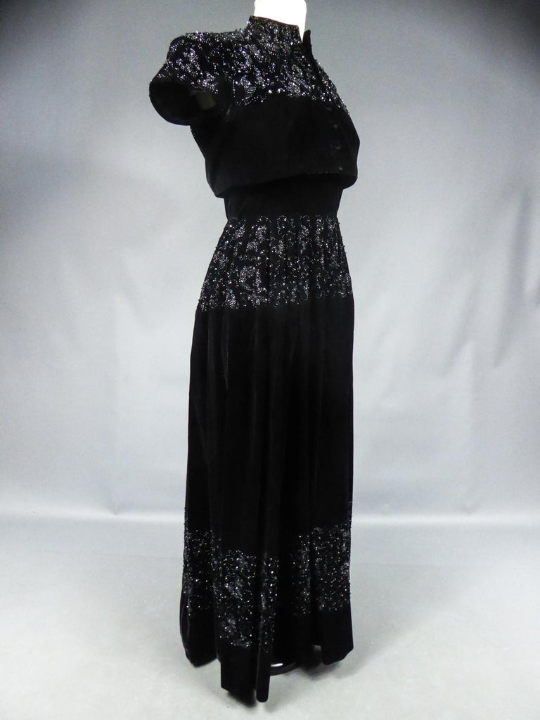 A Dress and Bolero French Couture Evening Set with Worth Label Circa 1950 For Sale 5