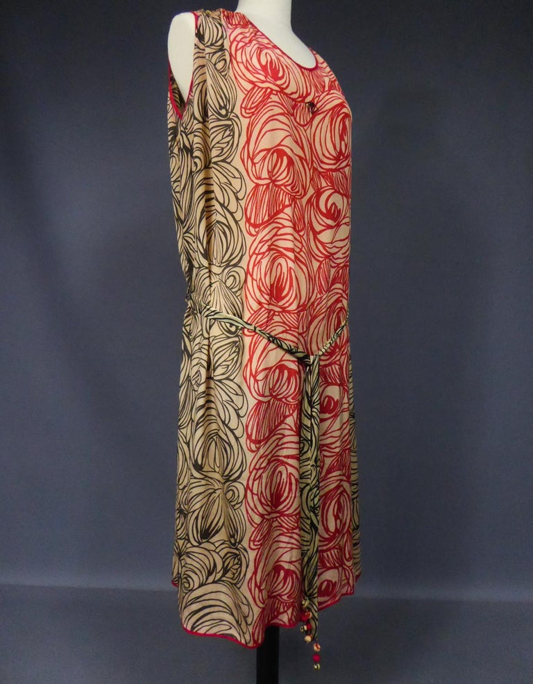 A Dufy/Poiret Printed Silk Pongee Couture Dress For Atelier Martine Circa 1915 For Sale 5