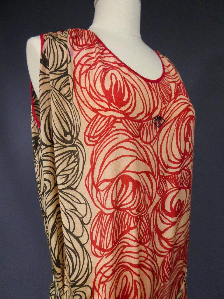 A Dufy/Poiret Printed Silk Pongee Couture Dress For Atelier Martine Circa 1915 For Sale 6