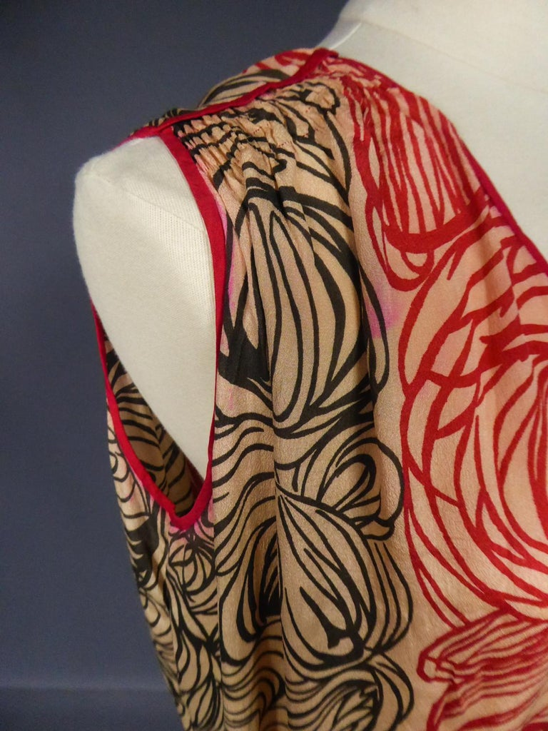 A Dufy/Poiret Printed Silk Pongee Couture Dress For Atelier Martine Circa 1915 For Sale 7