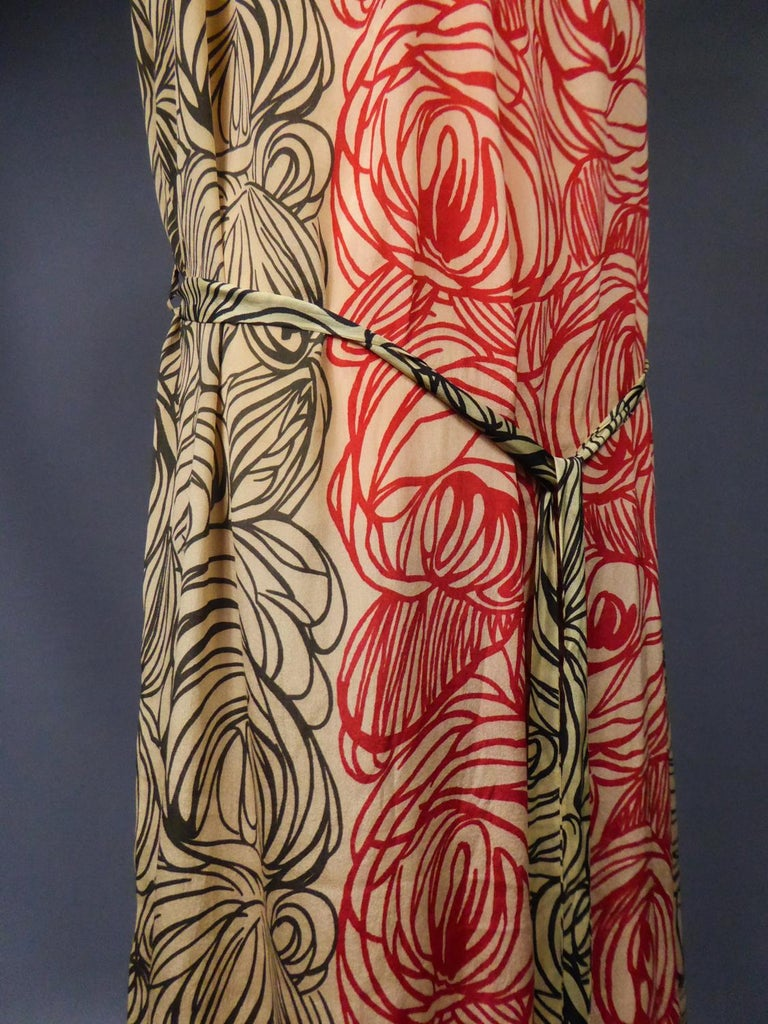 A Dufy/Poiret Printed Silk Pongee Couture Dress For Atelier Martine Circa 1915 For Sale 8