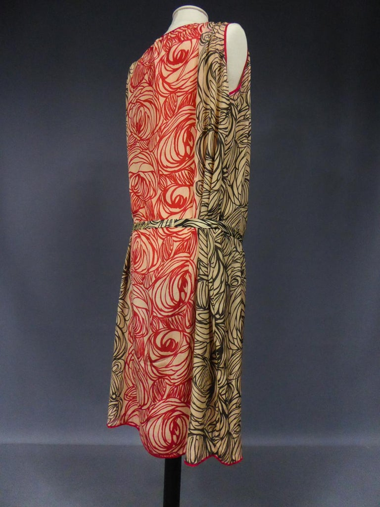 A Dufy/Poiret Printed Silk Pongee Couture Dress For Atelier Martine Circa 1915 For Sale 9