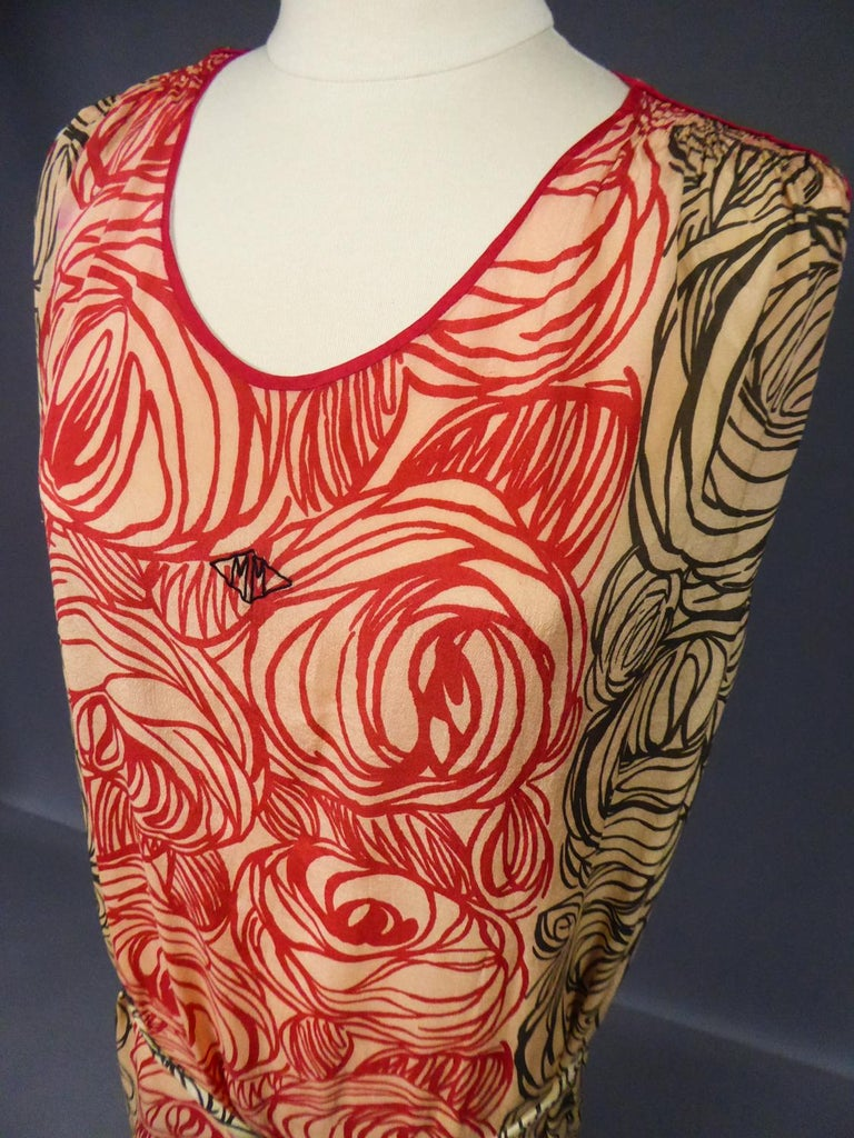 A Dufy/Poiret Printed Silk Pongee Couture Dress For Atelier Martine Circa 1915 For Sale 10