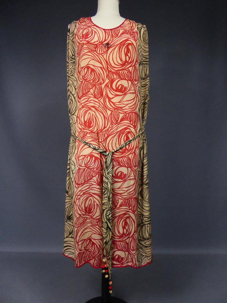 A Dufy/Poiret Printed Silk Pongee Couture Dress For Atelier Martine Circa 1915 In Good Condition For Sale In Toulon, FR