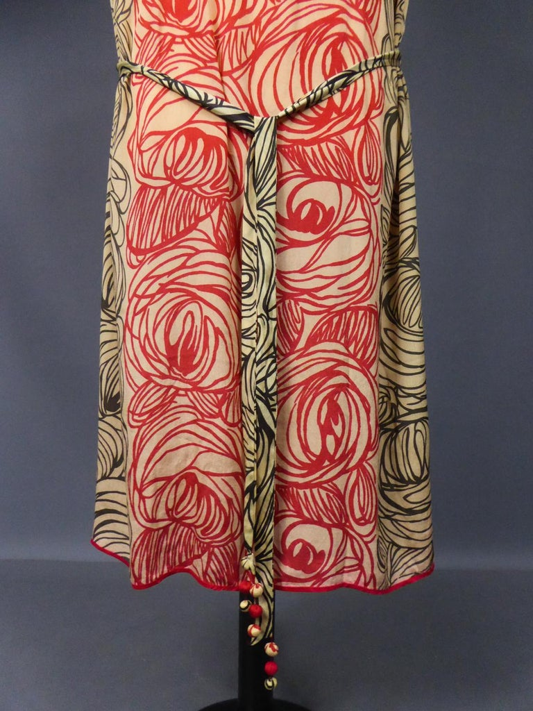 Women's A Dufy/Poiret Printed Silk Pongee Couture Dress For Atelier Martine Circa 1915 For Sale