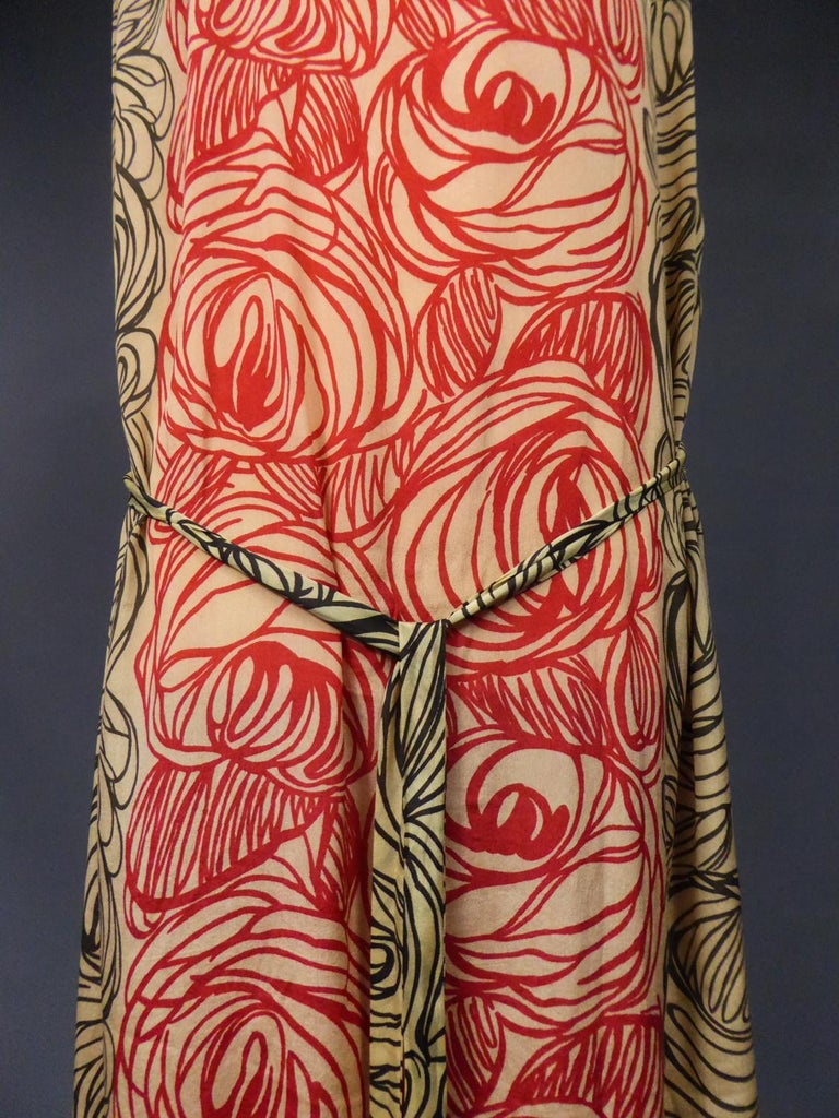 A Dufy/Poiret Printed Silk Pongee Couture Dress For Atelier Martine Circa 1915 For Sale 2