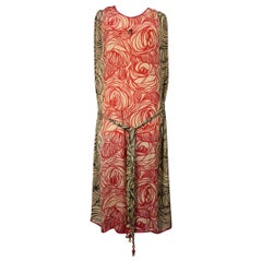 A Dufy/Poiret Printed Silk Pongee Couture Dress For Atelier Martine Circa 1915