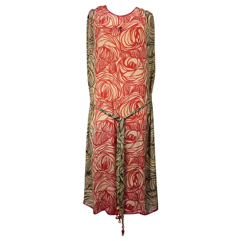 A Dufy/Poiret Printed Silk Pongee Couture Dress For Atelier Martine Circa 1915 For Sale