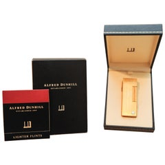 Dunhill Gold-Plated Reeded Rollagas Lighter in Original Box and Case
