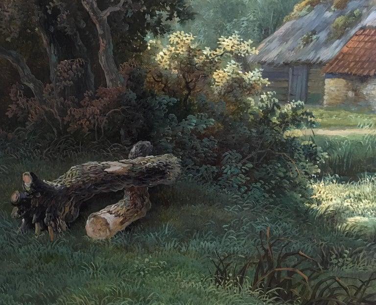 'A Dutch Farmstead' oil on panel by William De Klerk 1800-1868 (Dutch, 1800-1868).  Description Oil on fine panel, signed in the original frame.