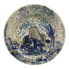 Art Deco Dutch Hand-Turned and Painted Mushroom Plate from C.J. Lanooy, 1925