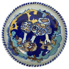 Art Deco, Dutch Hand-Turned and Painted Mushroom Plate from C.J. Lanooy, 1925