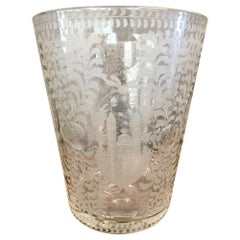 Dutch Large Etched Glass Vase, 19th Century