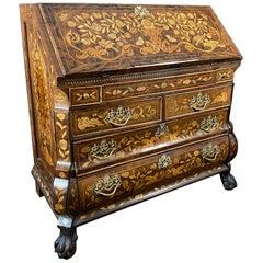 Dutch Rococo Bombe Marquetry Inlaid Dropfront Desk, Late 18th Century