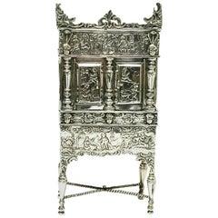 Dutch Silver Miniature Cross-Leg Cabinet, Herbert Hooijkaas, 1901