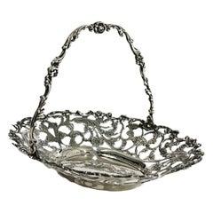 Dutch Silver Bonbon Basket with Movable Handle, by G. Schoorl, 1956