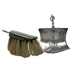 Dutch Silver Miniature Sweeper and Dustpan by Anne Venema, Sneek