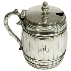 Dutch Silver Mustard Pot in the Shape of a Barrel, 1894