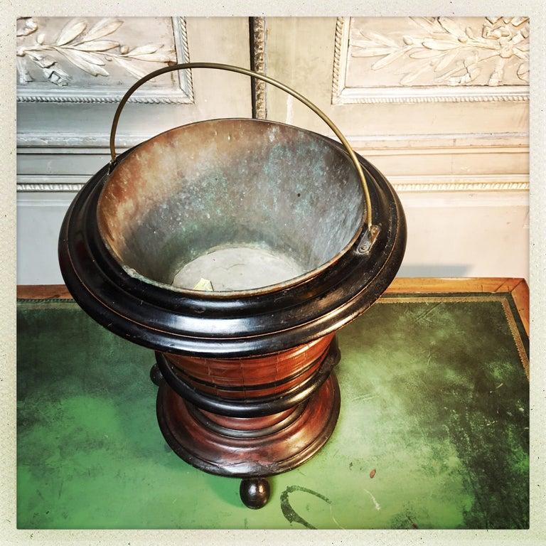 Dutch Walnut Coal Bucket with Brass Liner For Sale 6