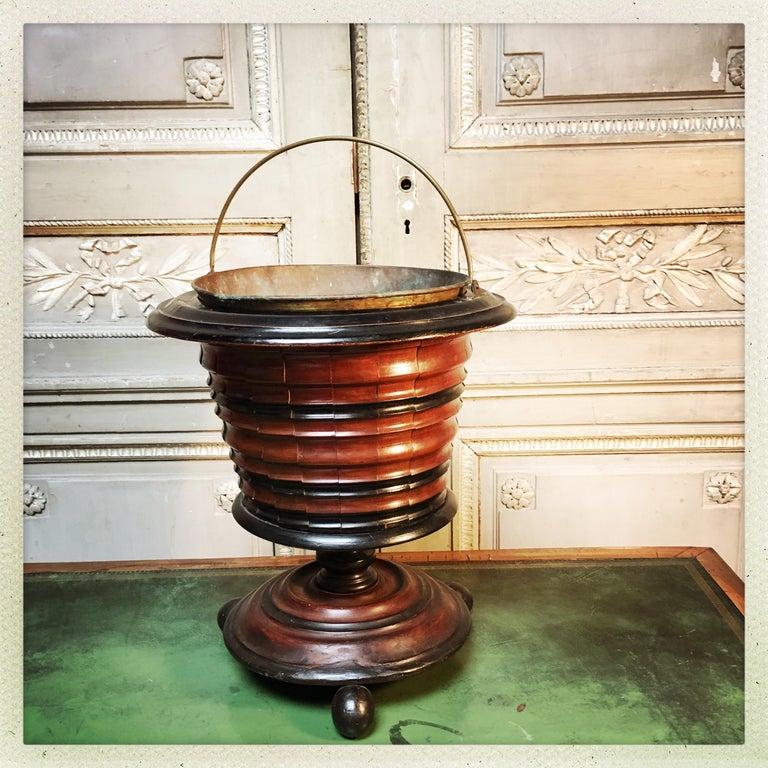 Dutch Walnut Coal Bucket with Brass Liner For Sale 7